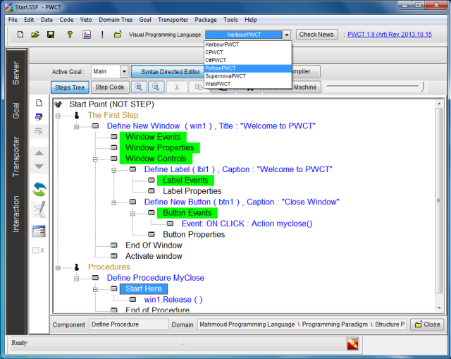 Using Python inside Programming Without Coding Technology (PWCT