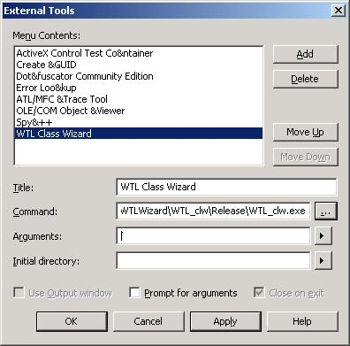 Installing the Wizard - Tools/External Tools