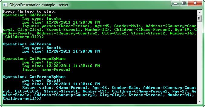 InterfacePresenter example - server